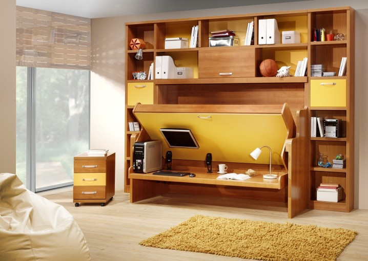 bedroom-brown-wooden-folding-bed-with-brown-wooden-shelf-and-desk-connected-by-cream-fur-rug-ad-brown-wooden-bedside-table-amazing-cool-bedroom-ideas-for-small-rooms-showing-awesome-a