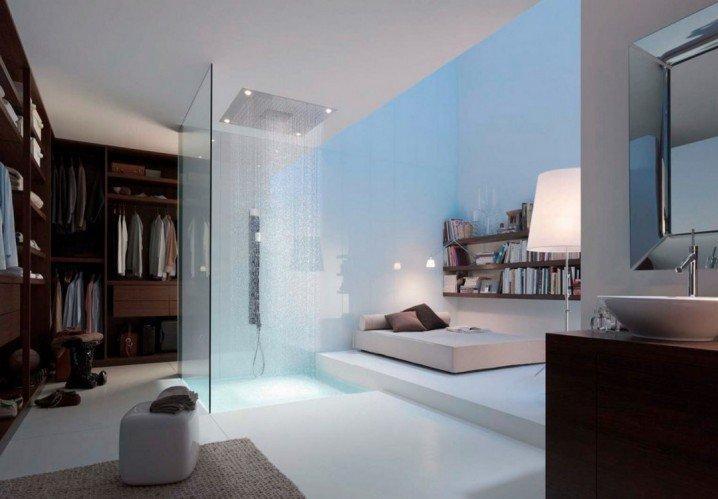 bathroom-vanities-plus-open-plan-master-bedroom-with-modern-rain-shower-room-design-idea-also-planet-mirror-718x499